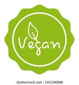 Green Vegan Badge. Eps10 Vector.
