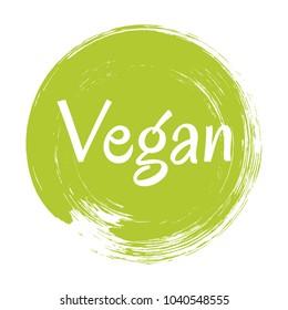 Green vegan diet label, painted logo emblem for food packaging, circle stamp vector illustration. Food vegan sticker, round logo vegetarian diet icon clip art, simple label graphic design.