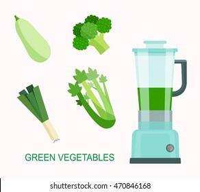 Green vegetable smoothie juice. Food processor, mixer, blender and vegetables. Flat style vector illustration.