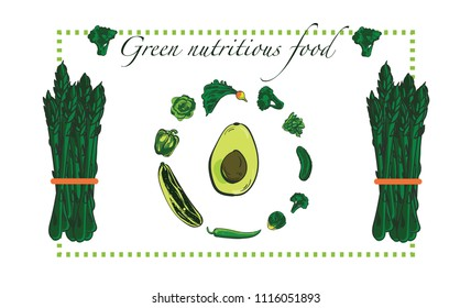Green vegetables background with caligraphic typography in a frame with asparagus, avocado, bell pepper, lettuce, brussel sprout. Nutrition and healthy life concept. Veganism concept.
