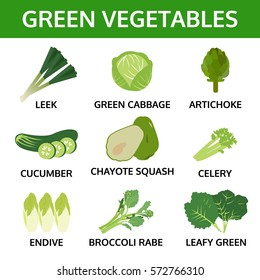 green vegetables collection, info graphic food, vector illustration
