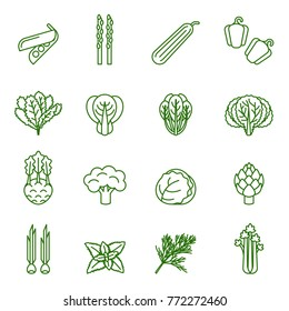 green vegetables collection, info graphic food, vector icon. Thin Line Style stock vector.