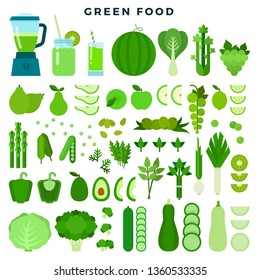 Green vegetables, fruits and juices, flat icon set. Fresh healthy organic food. Raw vegetarian dietary products. Vector illustration for restaurant menu, infographics, banners.