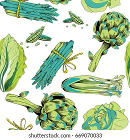 Green vegetables seamless pattern. Vector illustration on white background