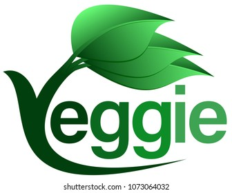 green veggie food text logo with three leaves