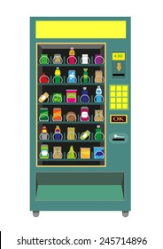 Green Vending Machine isolated on white background. Editable Clip Art.
