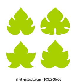 Green vine leaf vector icon set isolated on white background