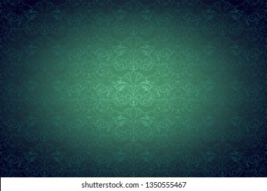 Green vintage background ,royal with classic Baroque pattern, Rococo with darkened edges background(card, invitation, banner). horizontal format