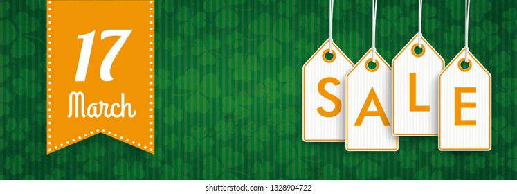 Green vintage banner with orange price stickers for St Patricks Day Sale. Eps 10 vector file.