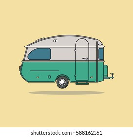 Green Vintage Camping Car. Caravan For Rest. Vector Illustration.
