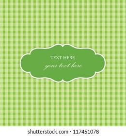 Green Vintage Card, Plaid Design