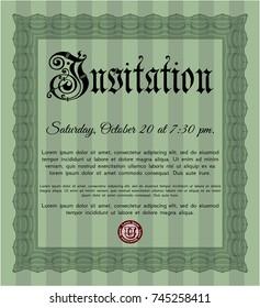 Green Vintage invitation template. With quality background. Vector illustration. Elegant design.