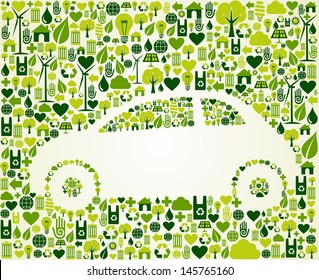 Green vintage light car design eco friendly sketch  . This illustration is layered for easy manipulation and custom coloring