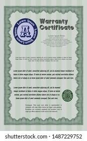 Green Vintage Warranty template. Printer friendly. Customizable, Easy to edit and change colors. Cordial design.