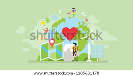 Green Volunteer Traveler Tiny People Character Concept Vector Illustration, Suitable For Wallpaper, Banner, Background, Card, Book Illustration, Web Landing Page, and Other Related Creative