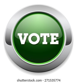 Green vote button with metal border on white background