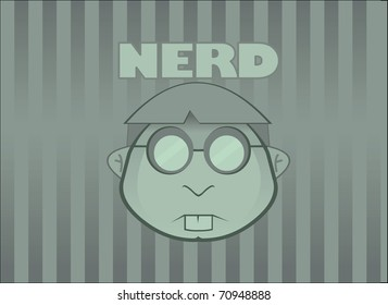 Green Wallpaper with simple NERD face and tag. Vector illustration