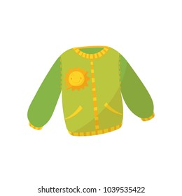 Green warm sweater with pockets and smiling sunny print. Children s jumper. Cute pullover for toddler girl or boy. Kids garment. Cartoon flat vector icon