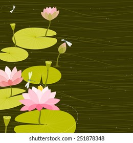 Green water garden background with pink Lotus flowers and dragonflies. Space for copy/text. Layered vector file, for easy manipulation.