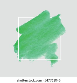 Green Watercolor Background Abstract Texture Badge Tag Illustration Vector