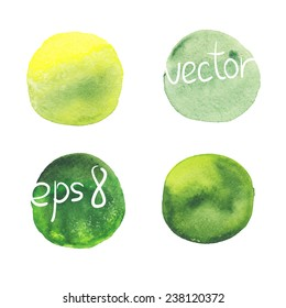 Green watercolor elements. EPS 8.
