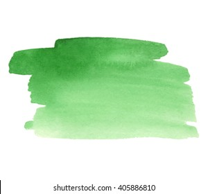 Green watercolor hand drawn paper texture striped isolated vector stain on white background for decoration. Colorful wet brush paint shape artistic nature design element. Sketch drawing illustration