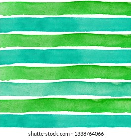 Green Watercolor hand painted brush strokes, green and blue striped background - Vector Illustration