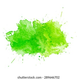 Green Watercolor splatters. Vector illustration. EPS 10