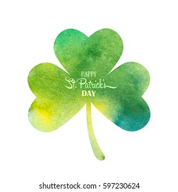 Green watercolor trifolium clover. Irish holiday Saint Patrick's Day. Green watercolor trifolium clovers. Irish holiday. Vector illustration for greeting card, poster, banner
