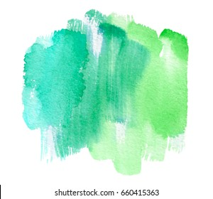 Green watercolor wet brush paint vector isolated striped stain on white background for text design, web, label. Aquarelle abstract nature color bright hand drawn paper texture scribble stroke element