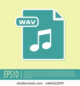 Green WAV file document. Download wav button icon isolated on yellow background. WAV waveform audio file format for digital audio riff files.  Vector Illustration