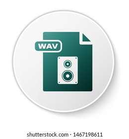 Green WAV file document. Download wav button icon isolated on white background. WAV waveform audio file format for digital audio riff files. White circle button. Vector Illustration