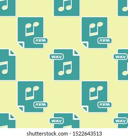 Green WAV file document. Download wav button icon isolated seamless pattern on yellow background. WAV waveform audio file format for digital audio riff files.  Vector Illustration