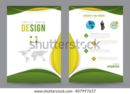 green wave annual report leaflet brochure flyer template a4 size design book cover layout design