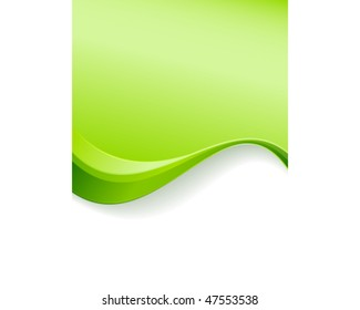 Green wave background template. Abstract background with copy space for text. Great for environment, nature or spring related topics.