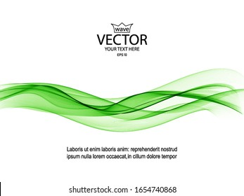 Green wave on a white background. Brochure design template, abstract background.