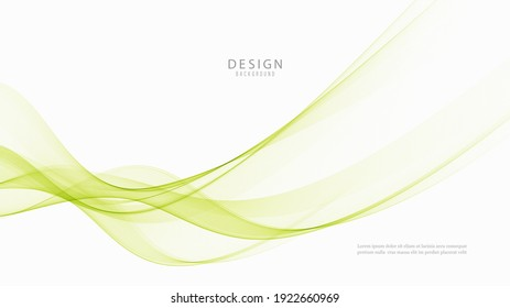 Green wave on white background.Abstract transparent wave background Green wave flow background