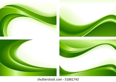 Green wave templates. Use of blends, clipping masks, linear and radial gradients, global color swatches. Artwork grouped and layered.