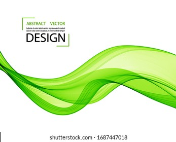 Green waves on a white background, vector abstract background.