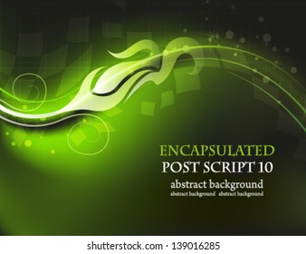 Green wavy background with abstract pattern