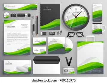 green wavy business stationery set template design for your brand