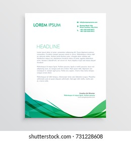 green wavy shape letterhead vector design template