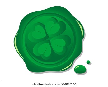 Green wax seal with print of the clover