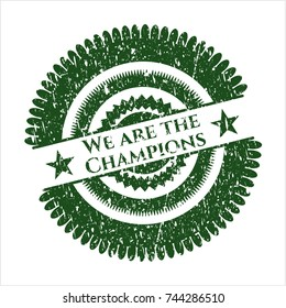 Green We are the Champions distressed rubber stamp