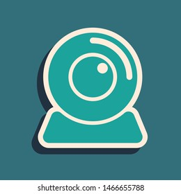 Green Web camera icon isolated on blue background. Chat camera. Webcam icon. Long shadow style. Vector Illustration