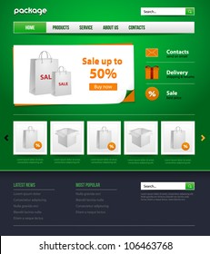 green website design store template for your business. Gift, package