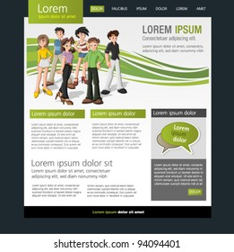 Green website template with teenagers