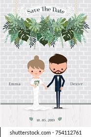 Green wedding cartoon bride and groom invitation card, stylish tropical decoration
