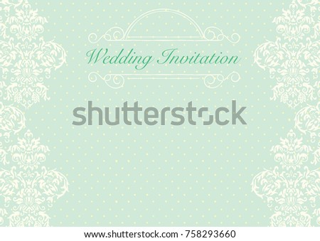 Green Wedding Invitation Card Background Template Image Vectorielle