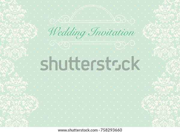 Green Wedding Invitation Card Background Template Stock Vector